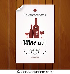 Wine list menu. Red and white