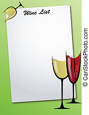 wine list sheet - illustration of sheet with glass