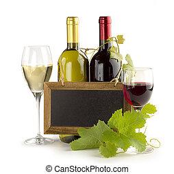 wine list - wine bottles, wineglasses and small chalkboard...