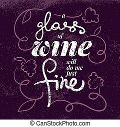 Wine list typographic poster. Hand drawn vector illustration.