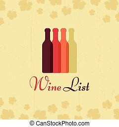 Wine list vector vintage poster with grape leaves