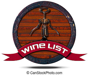 Wine List - Wooden Icon - Icon or symbol with old wooden...