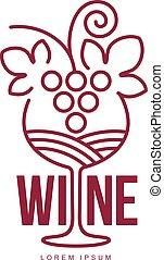 Wine logo templates. Bottle, glass, bunch of grapes. Vintage...
