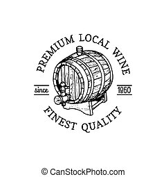 Wine logo. Vector winery sign with wooden barrel. Typographic label, badge with hand sketched keg for restaurant, bar menu.