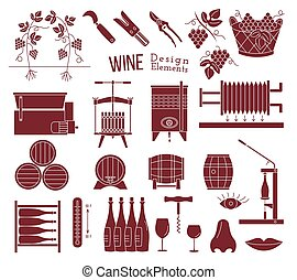 Wine making and wine tasting design elements - Mega...
