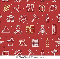 Wine Making Drink Background Pattern. Vector