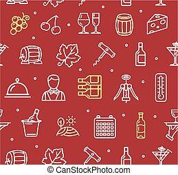 Wine Making Drink Background Pattern. Vector