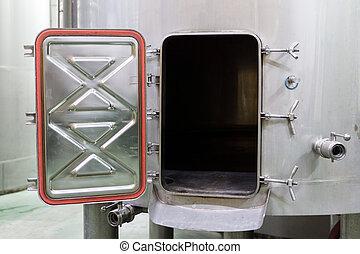 Wine Making Equipment, view of open aluminium tank