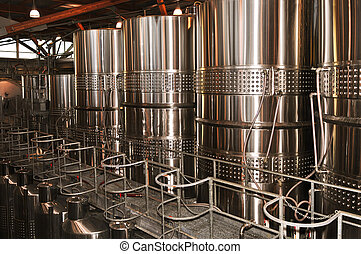 Wine making vats and equipment in tour of winery
