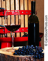 Wine Making - Still life with glass of red wine and vintage...