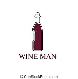 wine man concept vector design  template