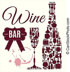 Wine menu. Abstract background. Flat style.