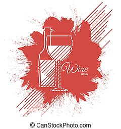 Wine menu abstract red paint card design eps 10 vector