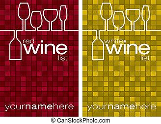 Wine menu - Red and white wine menus in vector format.