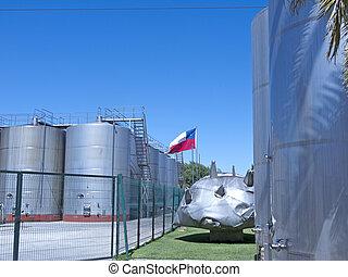 Wine metallic fermentation tanks. Chile