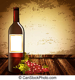 Wine Bottle Mock Up Over Vintage Background With Grape and Copyspace