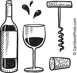 Doodle style wine set illustration in vector format including bottle, glass, corkscrew, and cork.