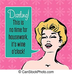 Wine O'Clock Vector Graphic