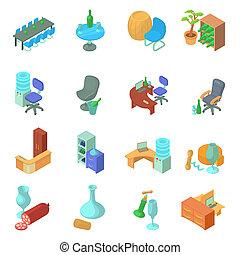 Wine office icons set, isometric style