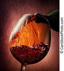 Wine on a burgundy background