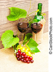 wine on a wooden background