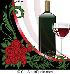 Wine on black and white background