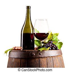 Wine on keg, isolated on white background - Red wine on...