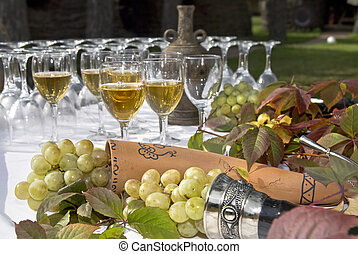 wine on table with grape