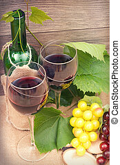 wine on the wooden background