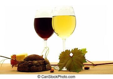 Wine on white background