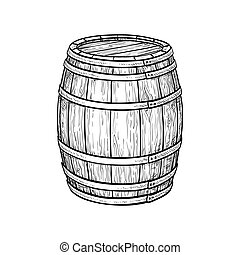 Wine or beer barrel isolated on white background. Vector...