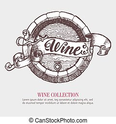 Wine or beer barrel with ribbon, banner.