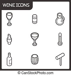 Wine outline isometric icons