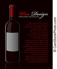 Bottle of red wine with reflection on a dark background