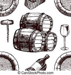 Wine pattern sketch background vector seamless winemaking barrel, grape vine glass and corkscrew