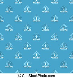 Wine pattern vector seamless blue