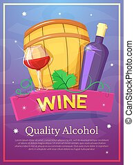 Wine poster, vector illustration
