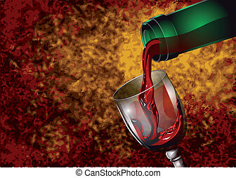 wine pouring from a bottle into a glass