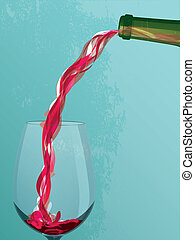 Wine Pouring - Textured wine and wine glass illustration