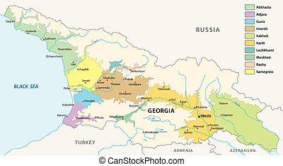 Wine producing regions of Georgia map.