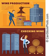 Wine Production Cartoon Horizontal Banners - Wine production...