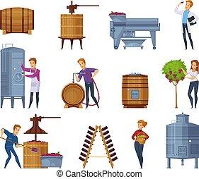 Wine Production Cartoon Icons Set - Winery production...