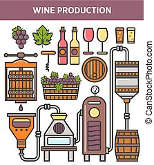 Wine production factory or winery winemaking technology vector icons