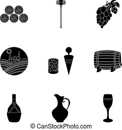 Wine products. Growing grapes, wine.Vine production icon in set collection on black style vector symbol stock illustration.