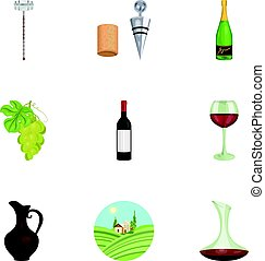 Wine products. Growing grapes, wine.Vine production icon in set collection on cartoon style vector symbol stock illustration.