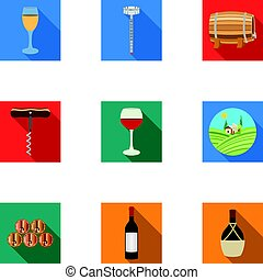 Wine products. Growing grapes, wine.Vine production icon in set collection on flat style vector symbol stock illustration.
