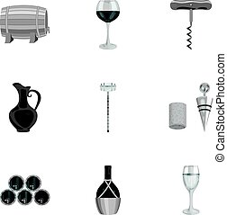 Wine products. Growing grapes, wine.Vine production icon in set collection on monochrome style vector symbol stock illustration.