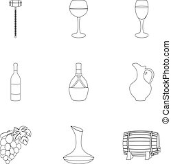 Wine products. Growing grapes, wine.Vine production icon in set collection on outline style vector symbol stock illustration.