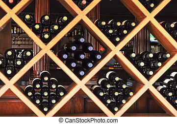 wine rack with stacks of wine