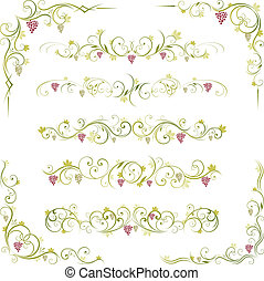wine scroll ornament - wine scroll decorative grape ornament